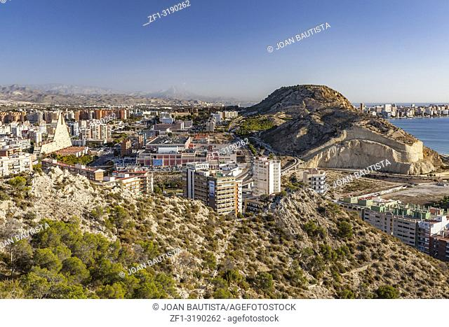 General city view from santa barbara castle. Alicante, Spain