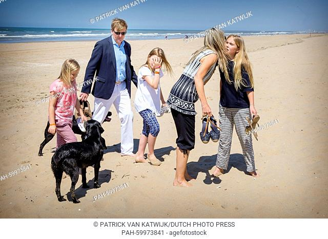 King Willem-Alexander and Queen Maxima with their daughters Princess Amalia, Princess Alexia and Princess Ariane of The Netherlands pose for the media at the...