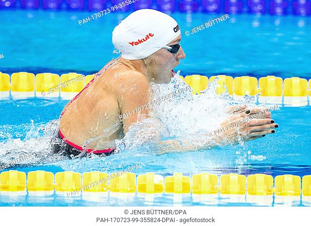 Katinka Hosszú from Hungary competes during the women's 200m medley qualification race at the FINA World Championships 2017 in Budapest, Hungary, 23 July 2017