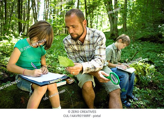 children and teacher in the wood