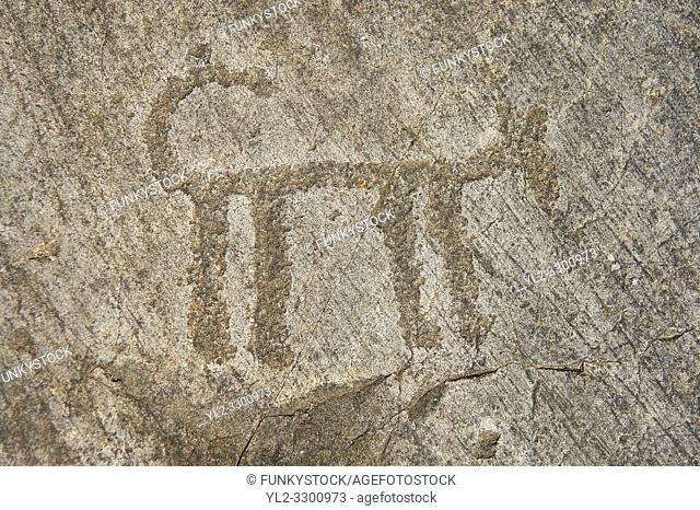Petroglyph, rock carving, of a schematic dog. Carved by the ancient Camunni people in the copper age between 3200-2200 BC