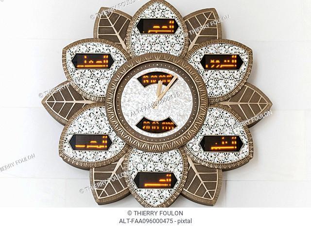 Ornate prayer clock, Sheikh Zayed Mosque, Abu Dhabi, United Arab Emirates