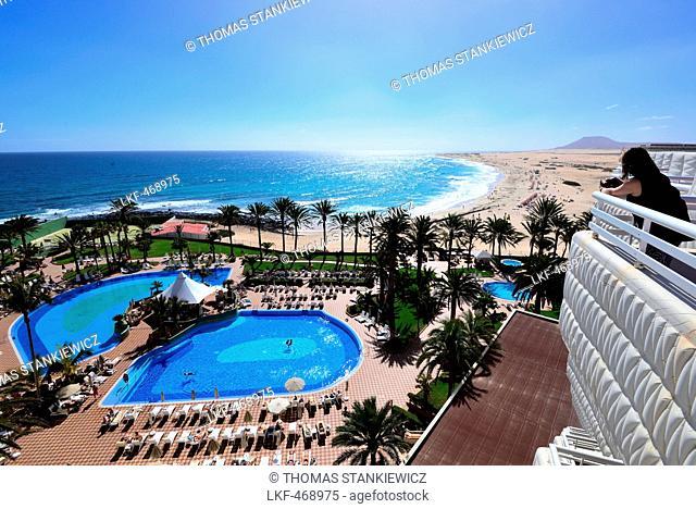 Hotel at coast, Corralejo, La Oliva, Fuerteventura, Canary Islands, Spain