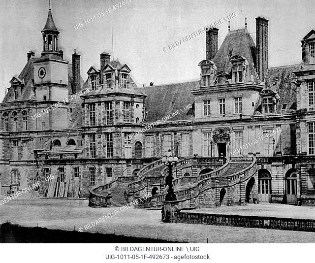 One of the first autotype photographs of the palace of fontainebleau, circa 1880