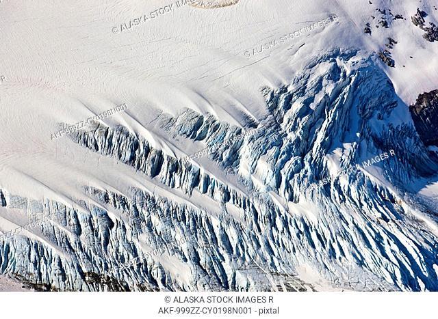 Aerial view of a glacier detail, Coastal Mountain Range north of Haines, Southeast Alaska, Summer