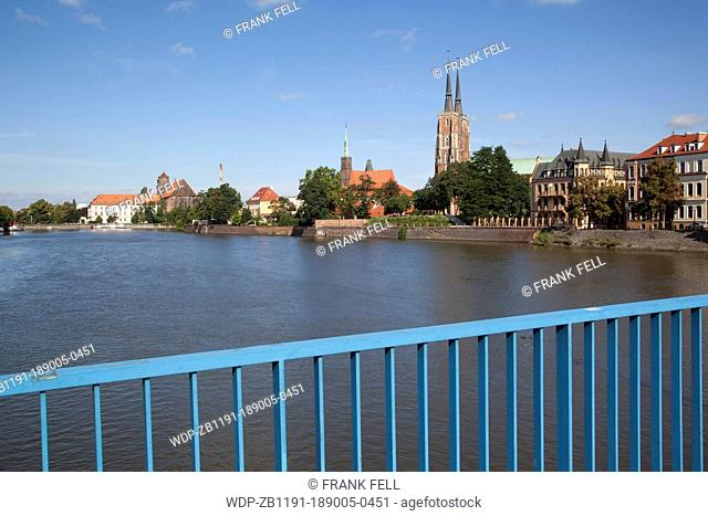Europe, Poland, Silesia, Wroclaw, Old Town, Cathedral & River Odra