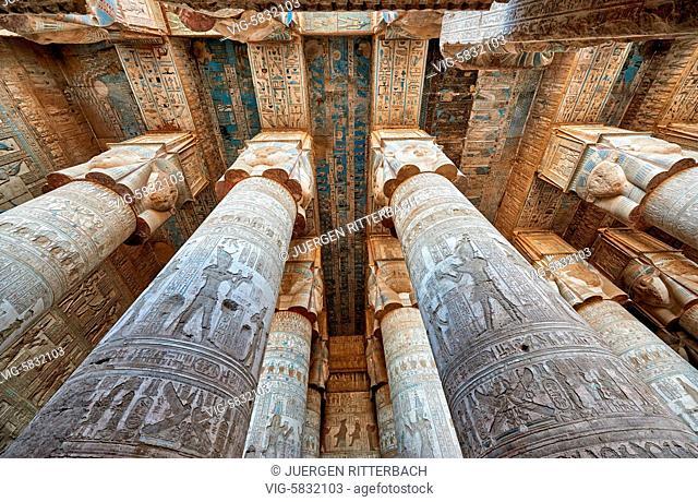 EGYPT, QENA, 07.11.2016, columns of Hathor temple in ptolemaic Dendera Temple complex, Qena, Egypt, Africa - Qena, Egypt, 07/11/2016