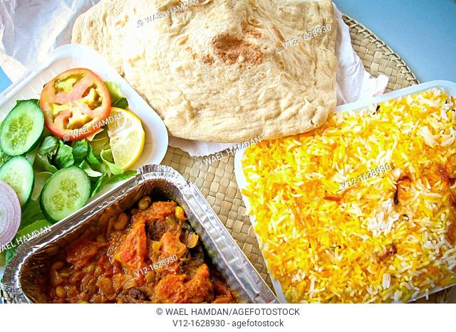 Indian food, Biryani rice with Mutton meat in tomato sauce