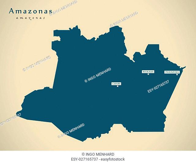 Modern Map - Amazonas BR Brazil Illustration