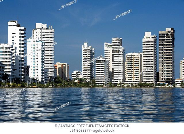 Tall residential buildings. Bocagrande. Cartagena de Indias, Colombia