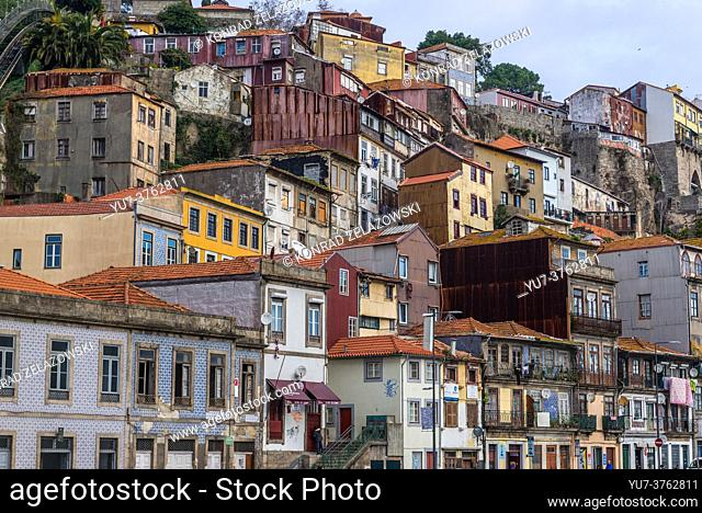 View on a riverfront of Douro River in Porto city on Iberian Peninsula, second largest city in Portugal