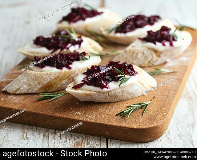 Bruschetta with Beet Jam and Vegan Cream Cheese