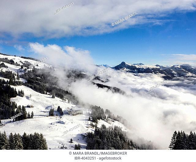 Mountain station Hochbrixen with igloo village in winter, Alps behind, Wilder Kaiser-Brixental resort, Hochbrixen, Brixen Im Thale, Tyrol, Austria