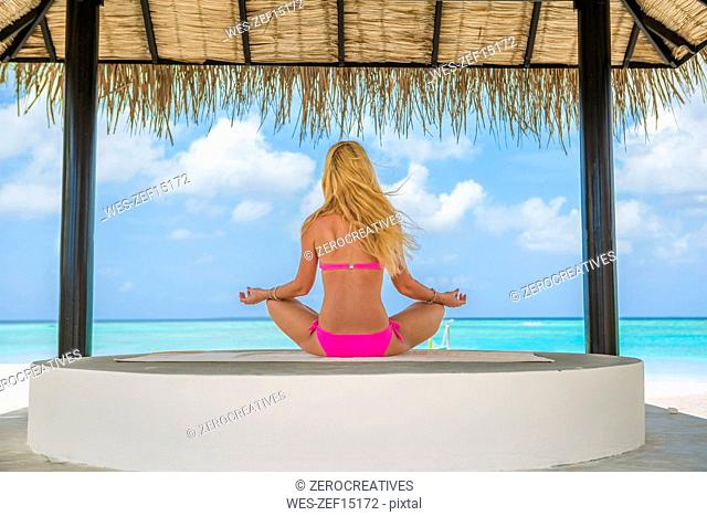 Blond woman sitting at the sea, meditating, rear view