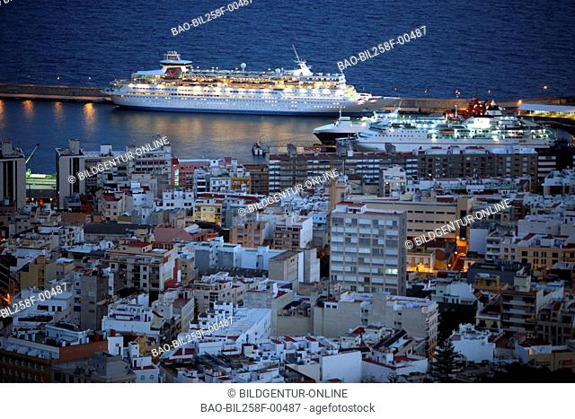 The harbour in the capital Santa Cruz of the island Tenerife on the Canary islands in the Atlantic