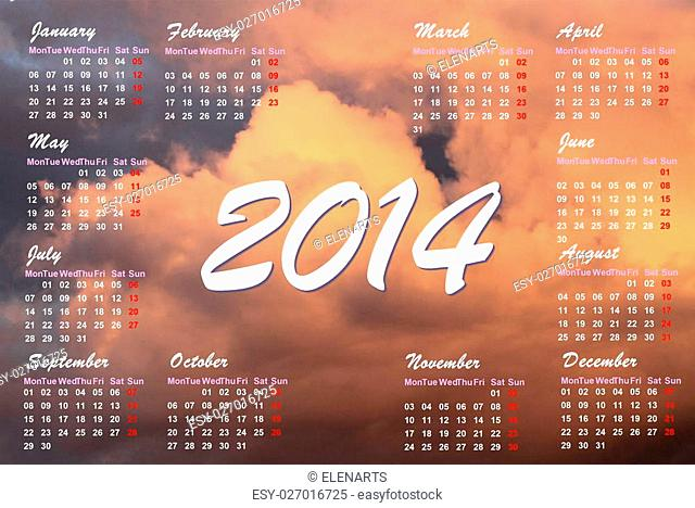 English 2014 monthly calendar and sunset clouds