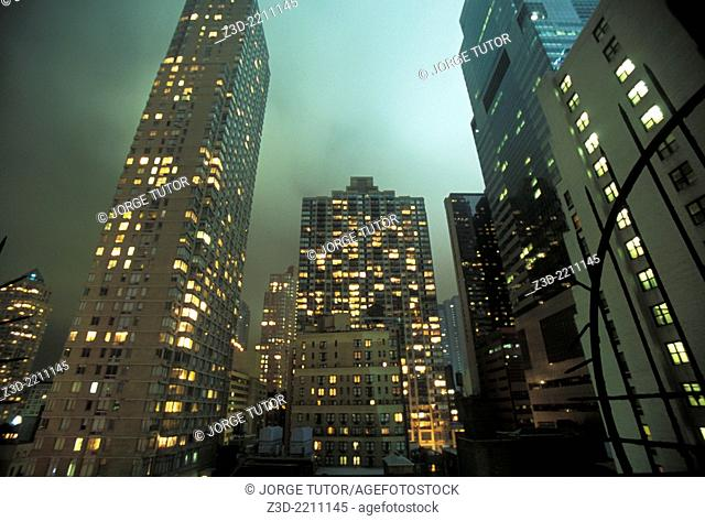 Residential building in Manhattan by night. New York