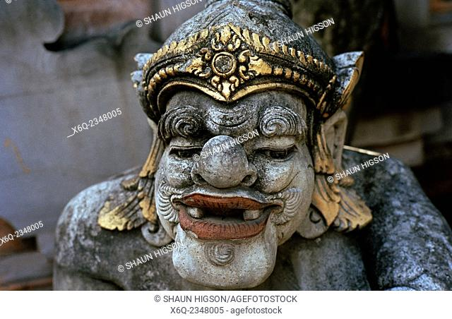 Balinese temple sculpture in Ubud in Bali in Indonesia in Southeast Asia Far East