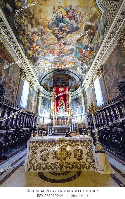 Chencel of Saint Mary of the Announcement Cathedral in Acireale coastal city and comune in the Metropolitan City of Catania, Sicily, Italy