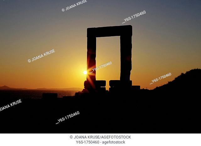 Temple of Naxos, Greece, at sunset