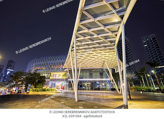 Sea World Plaza illuminated at dusk. Shekou, Shenzhen, Guangdong Province, China