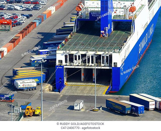 Container ship. Barcelona port, Spain