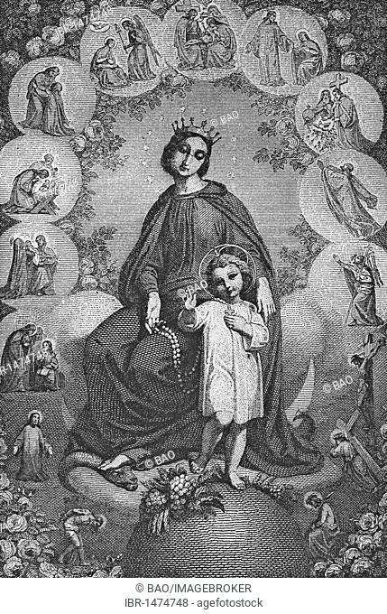 The Queen of the Holy Rosary, historic steel engraving from 1860
