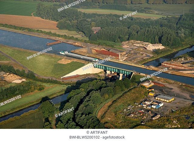Dortmund-Ems Canal crossing River Lippe, Germany, North Rhine-Westphalia, Ruhr Area, Datteln