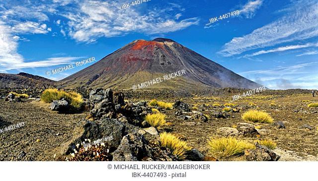 Volcanic landscape with the volcano Mt Ngauruhoe, Tongariro Alpine Crossing trail, Manawatu-Wanganui, North Island, New Zealand