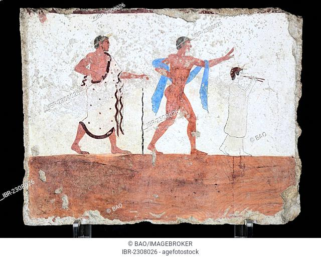 Tomba del Tuffatore, Tomb of the Diver, 480 BC, interior mural painting on the lateral wall, a man with a walking cane, a dancing boy and a female flute player...