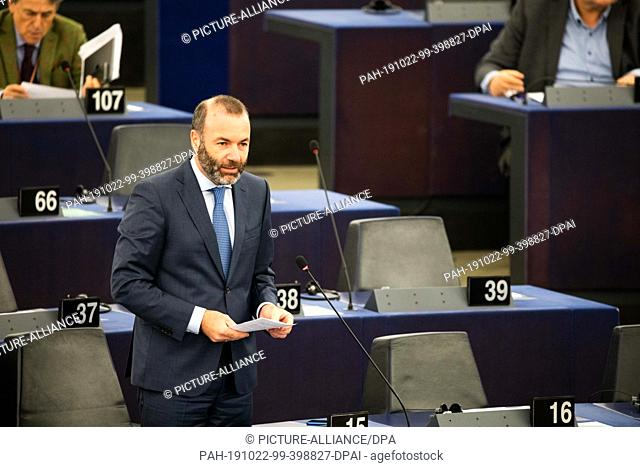 22 October 2019, France (France), Straßburg: Manfred Weber (CSU), leader of the EPP parliamentary group in the European Parliament