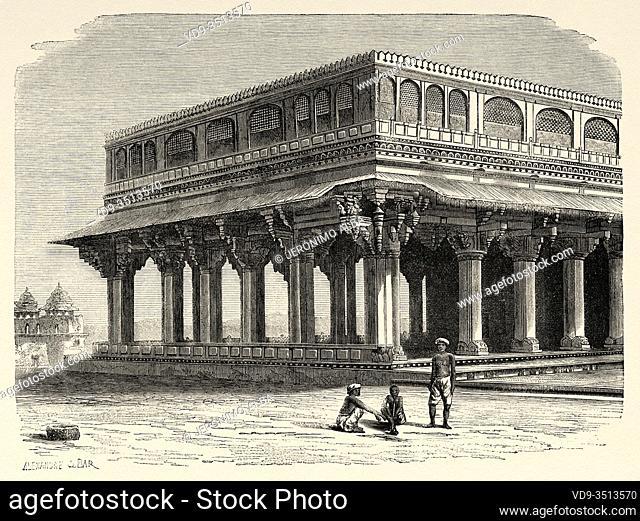 Amber Fort Palace, Jaipur. Rajasthan, India. Old engraving illustration from El Mundo en la Mano 1878