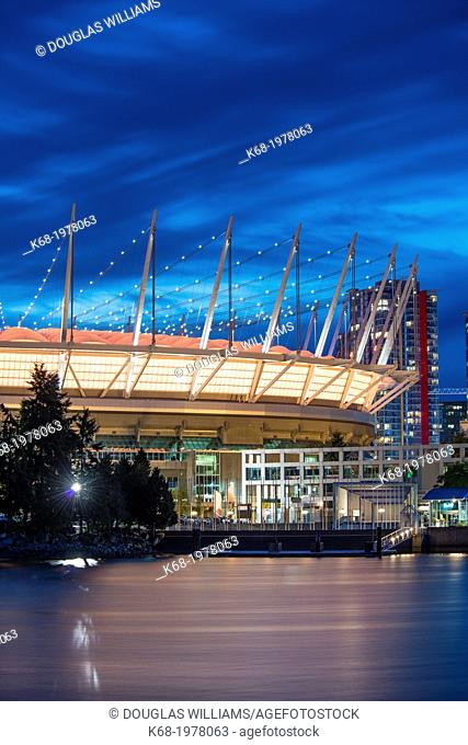 BC Place Stadium at night, Vancouver, BC, Canada