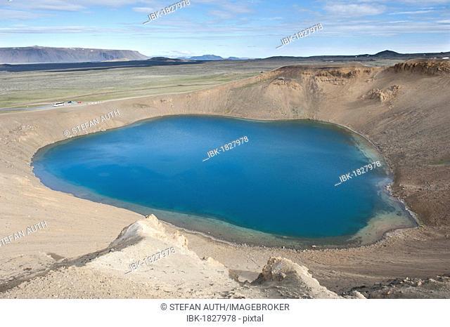 Viti Volcanic Crater Lake, a round blue crater lake, Krafla, Mývatn region, Iceland, Scandinavia, Northern Europe, Europe