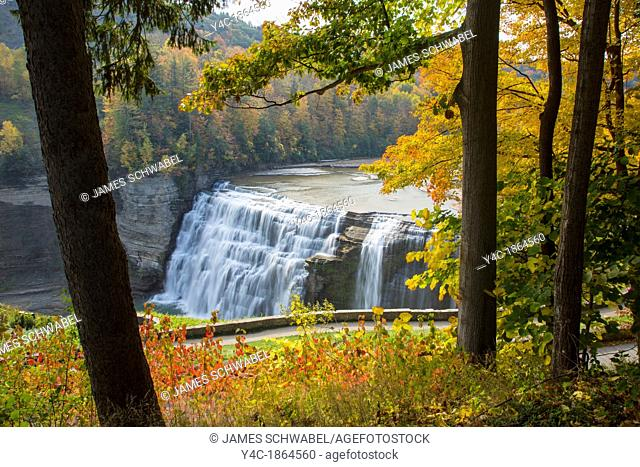Fall color at the Middle Falls of the Genesee River in Letchworth State Park in New York State