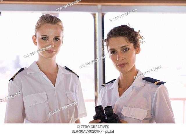Female sailors with telescope
