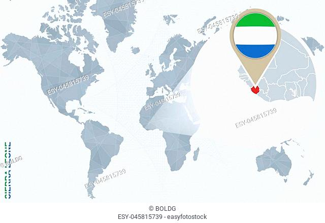 Abstract blue world map with magnified Sierra Leone. Sierra Leone flag and map. Vector Illustration