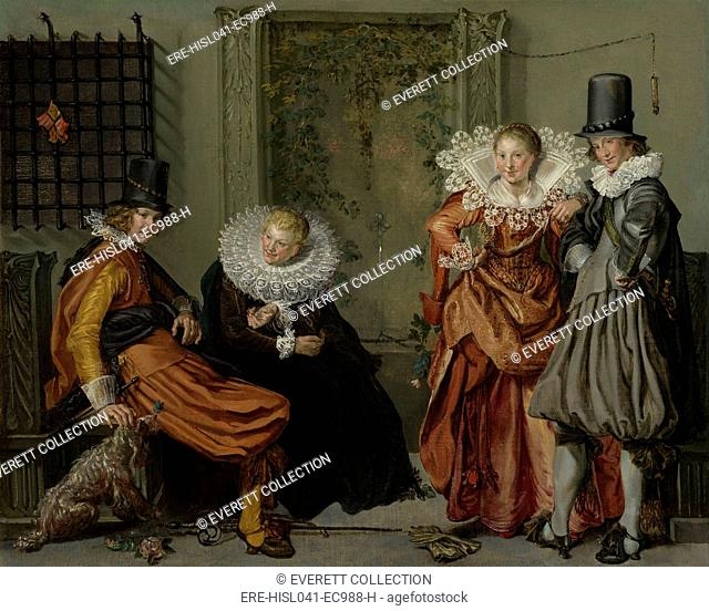 Elegant Couples Courting, by Willem Buytewech, 1616-20, Dutch painting, oil on canvas. This painting tells a moral tale. The man at left resists the tempting...