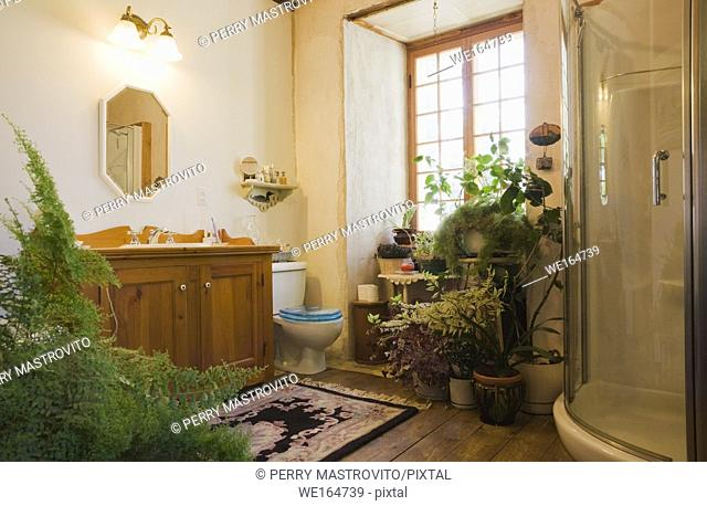 Main bathroom inside an old 1838 Canadiana fieldstone cottage style residential house, Quebec, Canada