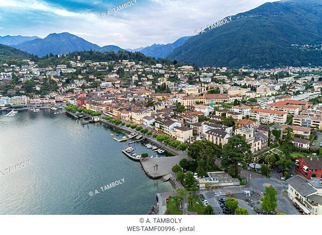 Switzerland, Ticino, Aerial view of Locarno, Lake Maggiore