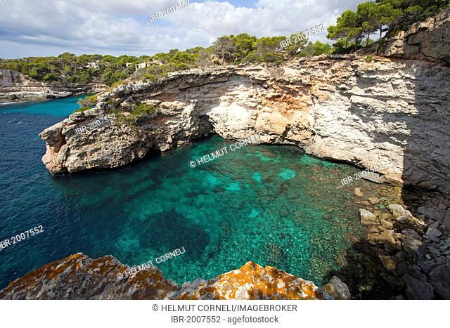 Rocky coast near Cala Santanyi, Majorca, Balearic Islands, Spain, Mediterranean, Europe