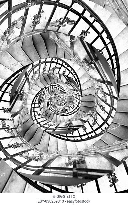 Stairs spiral droste. Particular of spiral stairs with droste effect
