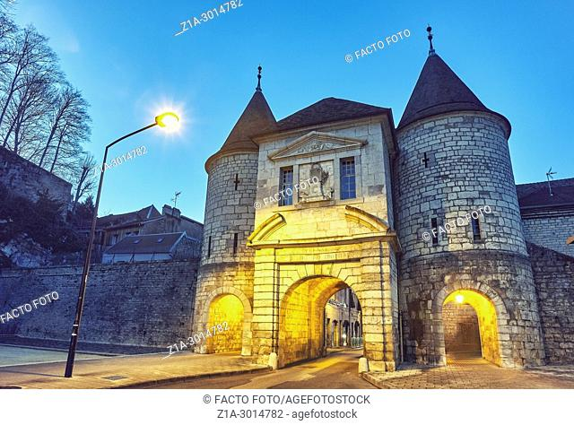 Porte Rivotte. This gate is all that remain of the cityâ. . s medieval fortification. Besançon. Bourgogne-Franche-Comte. France