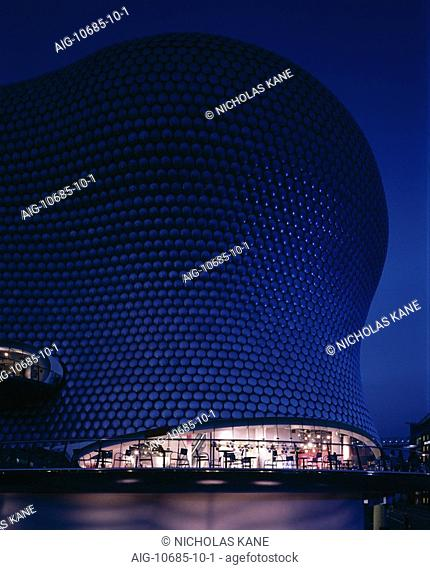 Selfridges, Birmingham 2003 - Exterior at dusk. Architect: Future Systems