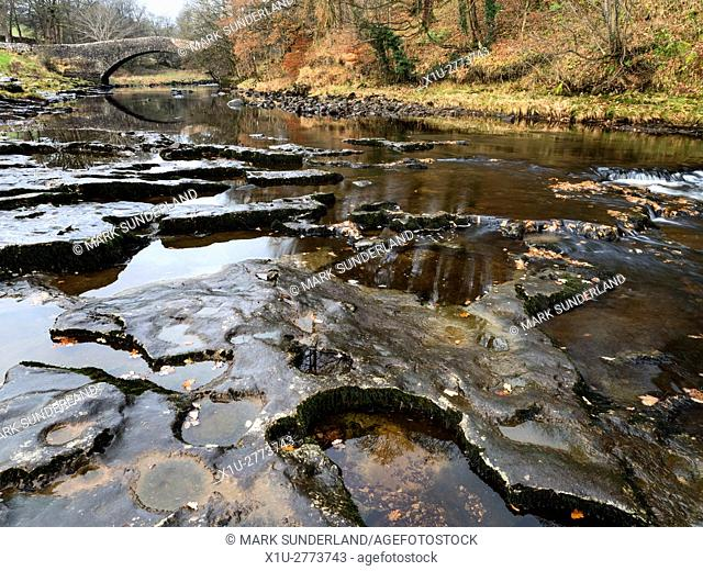 Stainforth Packhorse Bridge and the River Ribble Stainforth Ribblesdale Yorkshire Dales England