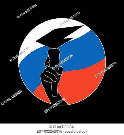 A man's arm, bearing the eternal flame on the background of the flag of the Russia country. Vector logo