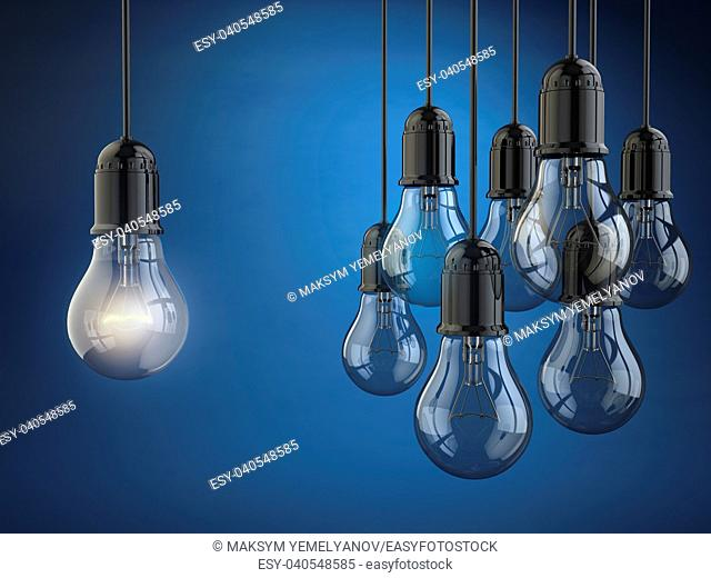 Idea or leadership concept. Group of light bulbs on the blue background. 3d