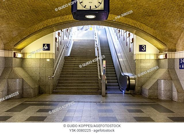 Berlin, Germany. Train Station Stairs and Escalator from the main hall towards the platform
