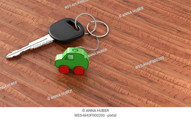 Car key with keychain, green car, clean energy