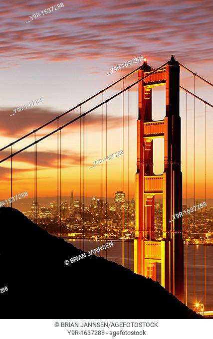 Just before dawn above the Golden Gate Bridge with San Francisco beyond, California, USA